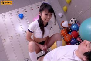いじめっ娘JKのつぼみに杭打ち騎乗位で中出しさせられるAV動画の手コキ画像