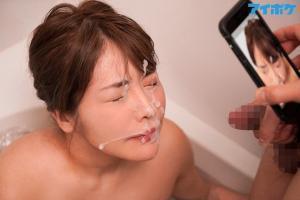 彼女の親友の爆乳グラドル益坂美亜とヤリまくってやったAV動画の顔射画像