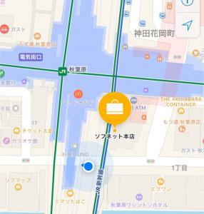 ソフネット本店への地図